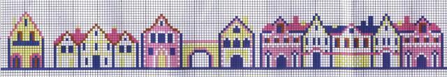 Схема вышивания крестом - Орнамент Домики