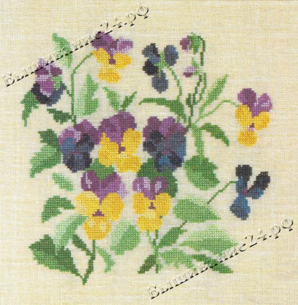 Схема вышивания крестом - Анютины глазки, цветы