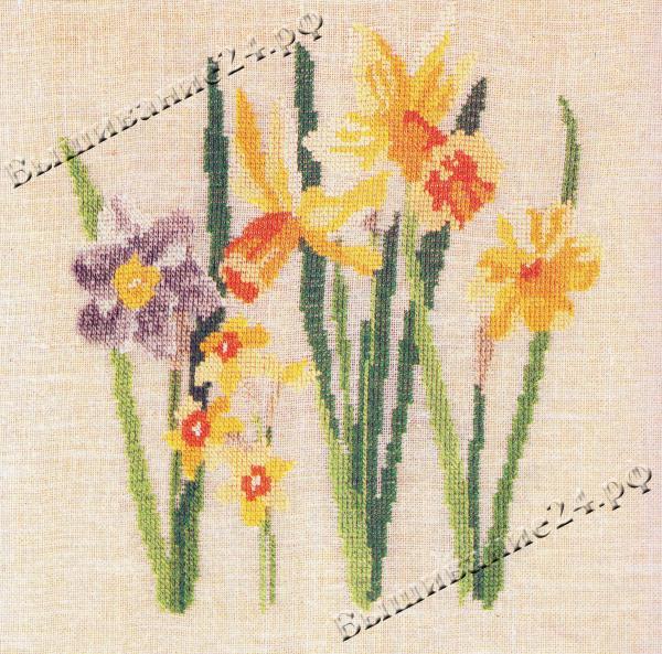 Схема вышивания крестом - Нарцисс, цветы