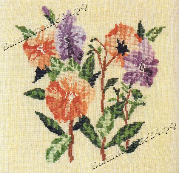 Схема вышивания крестом - Петуния, цветы