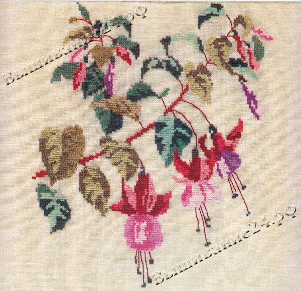 Схема вышивания крестом - Фуксия, цветы
