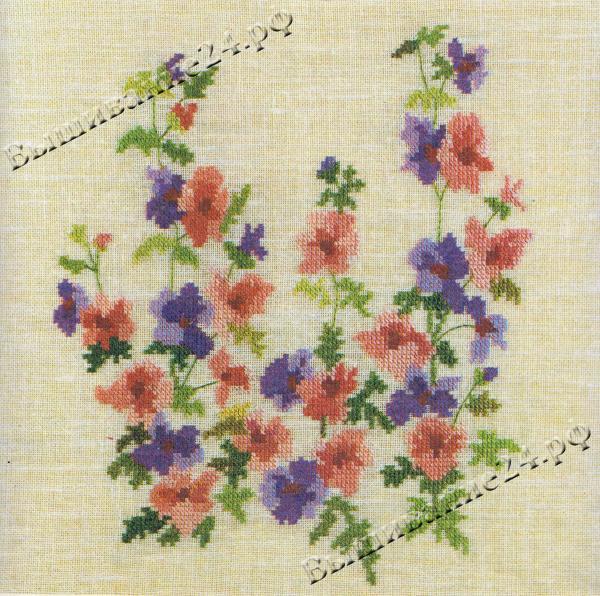 Схема вышивания крестом - Шизантус, цветы