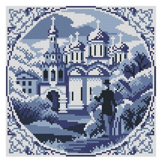 Схема вышивания крестом - Осенний сон