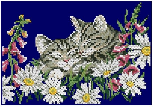 схемы вышивки крестом котята