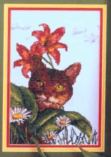 Схема вышивания крестом - Кошка и цветы