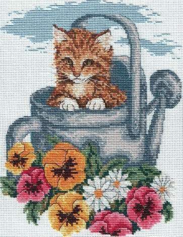 Схема вышивания крестом - Котёнок в лейке
