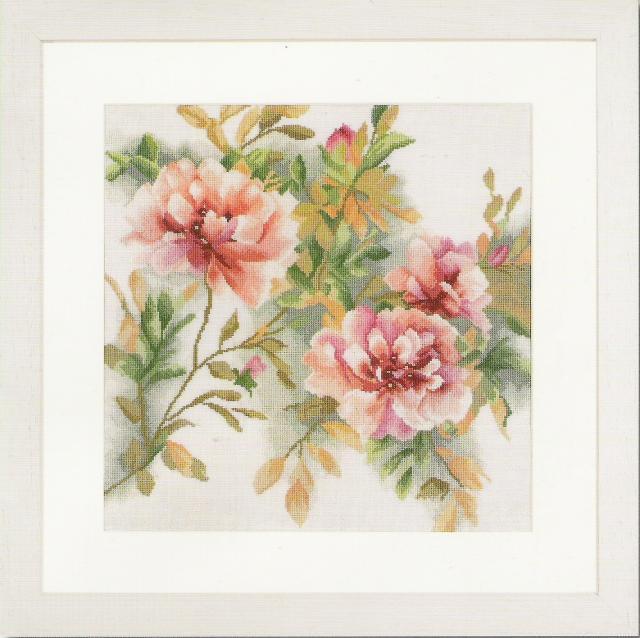Схема вышивания крестом - Ветка розы