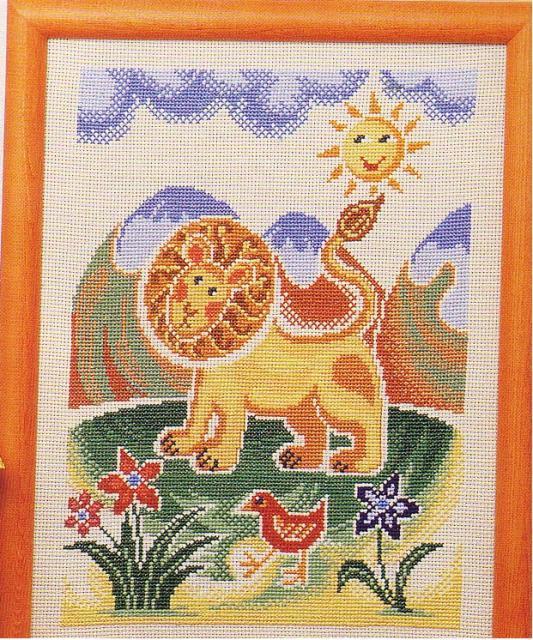 Схема вышивания крестом - Лев