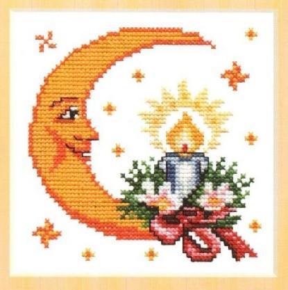 Схема вышивания крестом - Рождественская луна