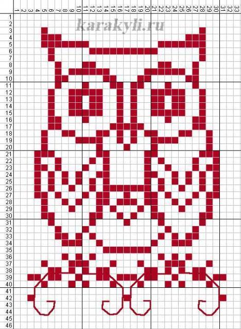 Схема вышивания крестом - Сова