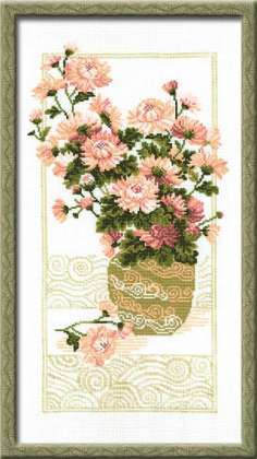 Схема вышивания крестом - Хризантемы в вазе