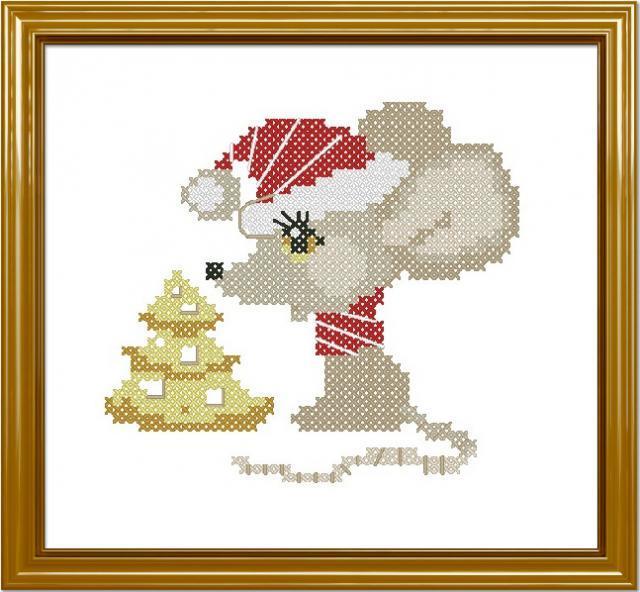 Схема вышивания крестом - Мышонок