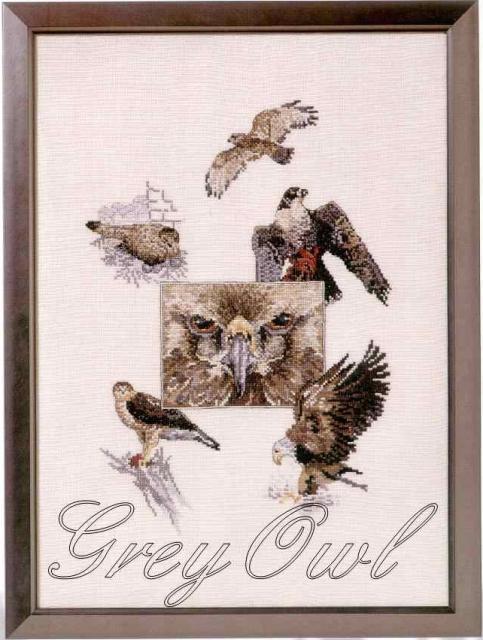 Схема вышивания крестом - Серая сова
