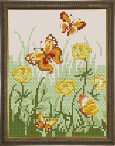 Схема вышивания крестом - Бабочки в поле