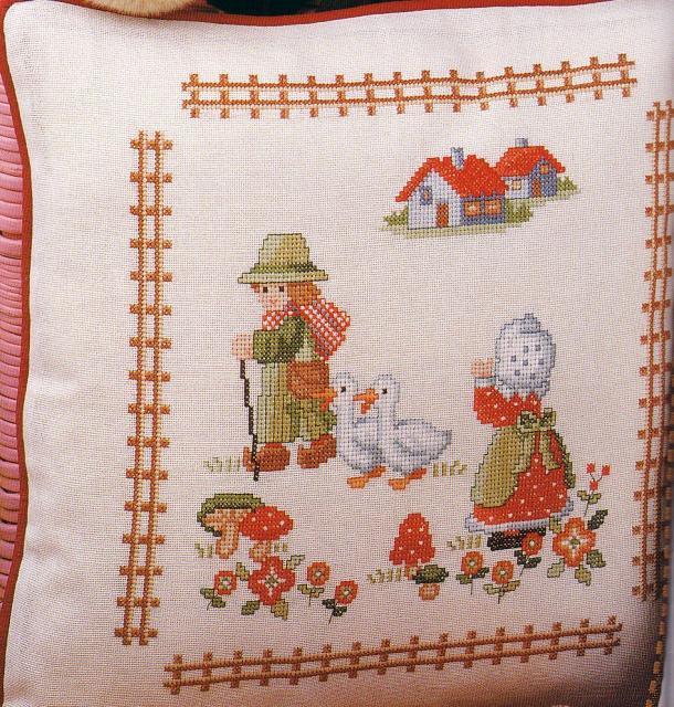 Схема вышивания крестом - Подушка детская