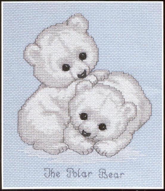 Схема вышивания крестом - Белые медвежата