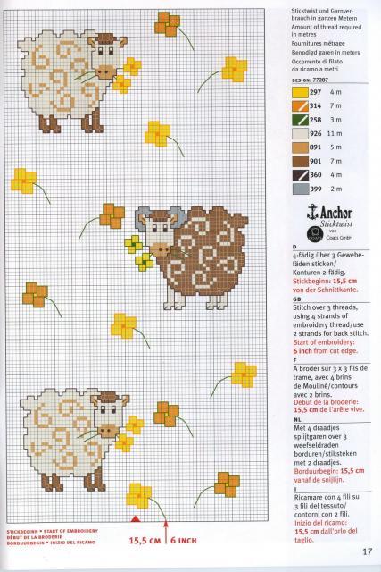 Схема вышивания крестом - Барашки на полянке