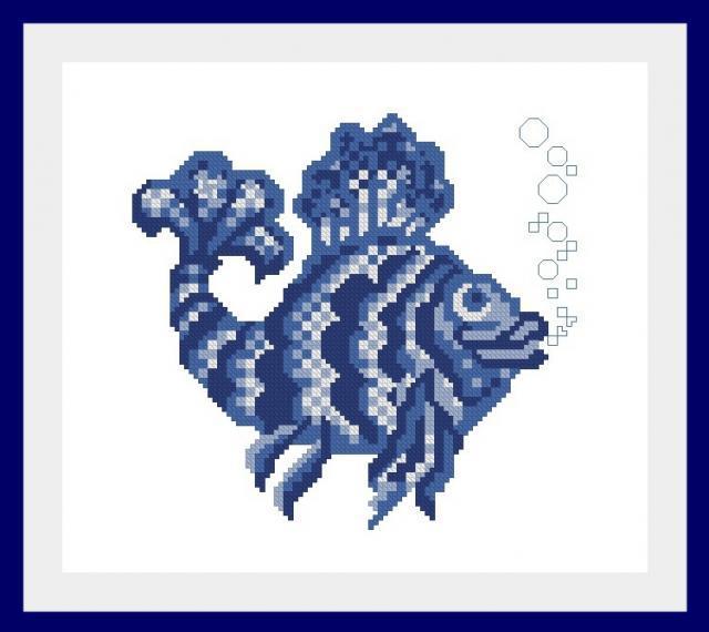Схема вышивания крестом - Рыбка, Гжель