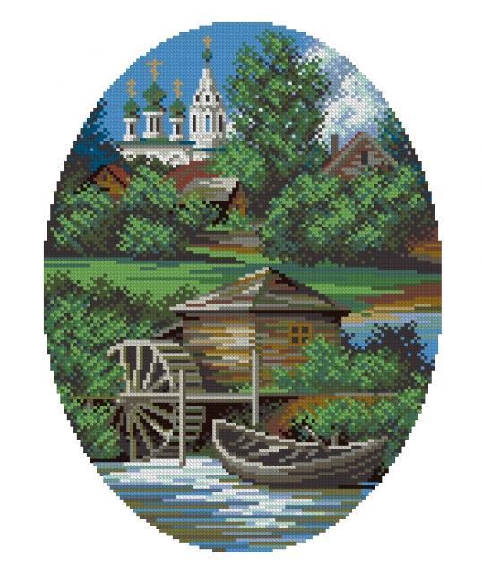 Схема вышивания крестом - После весеннего паводка