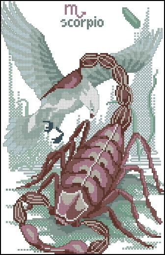 Схема вышивания крестом - Знаки зодиака Скорпион