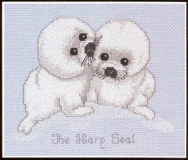 Схема вышивания крестом - Тюленята