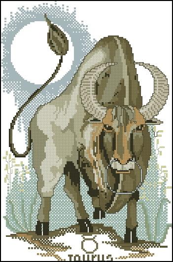 Схема вышивания крестом - Знаки зодиака Телец
