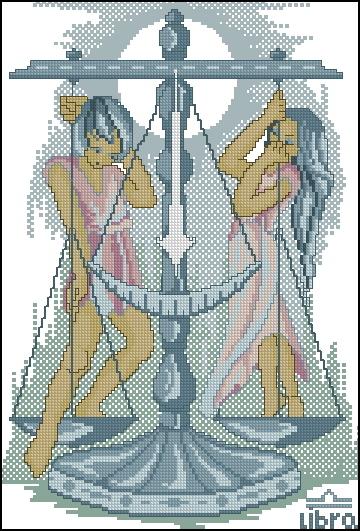 Схема вышивания крестом - Знаки зодиака Весы