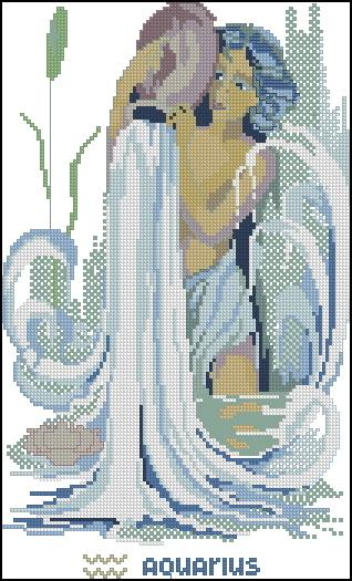 Схема вышивания крестом - Знаки зодиака Водолей