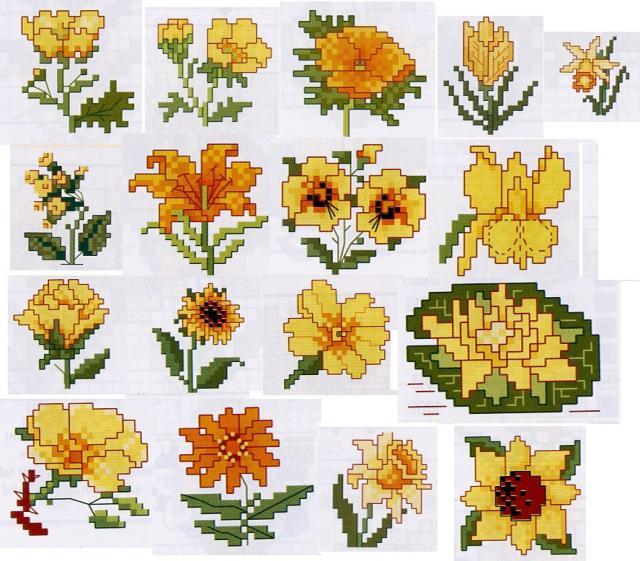 Вышивка желтые цветы схема