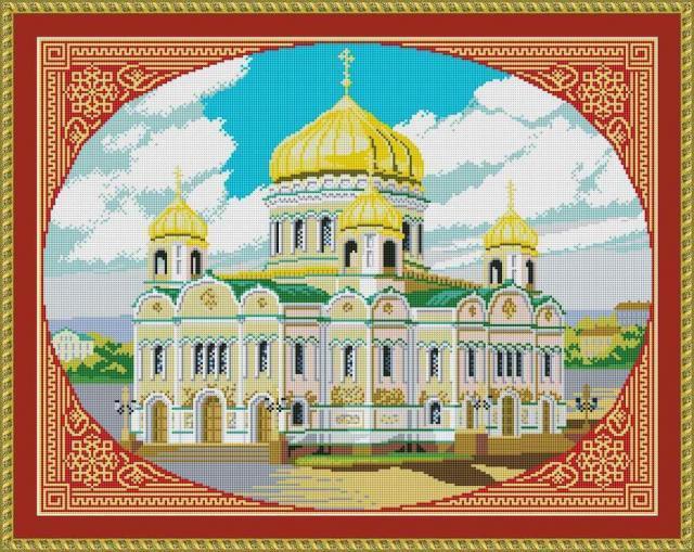 Схема вышивания крестом - Храм Христа Спасителя