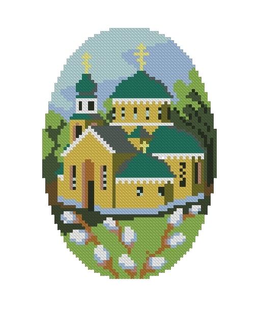Схема вышивания крестом - Пасха Христова