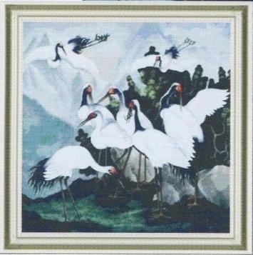 Схема вышивания крестом - Белые журавлики