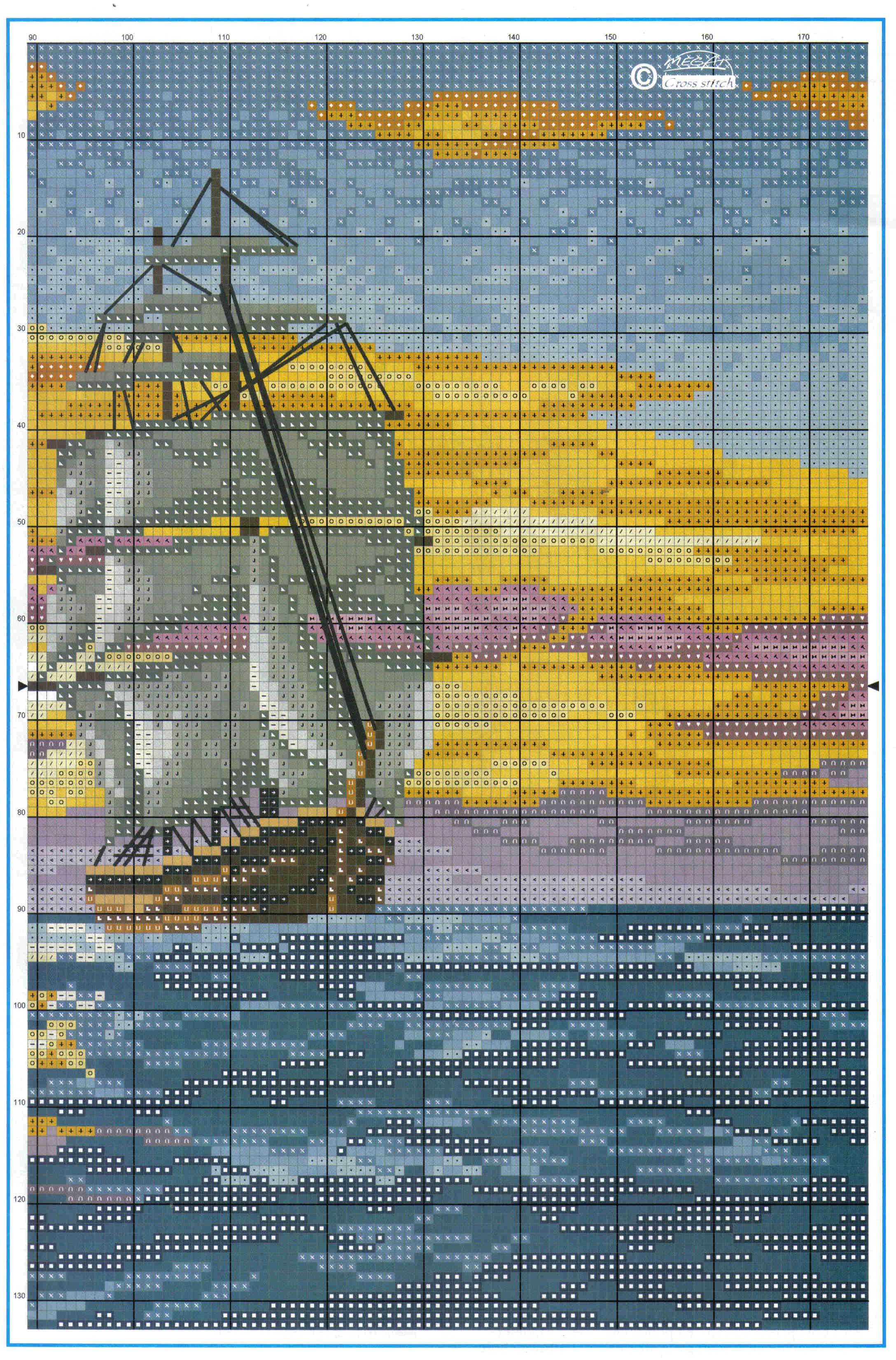 Вышивка крестом морские пейзажи и схемы к ним 861