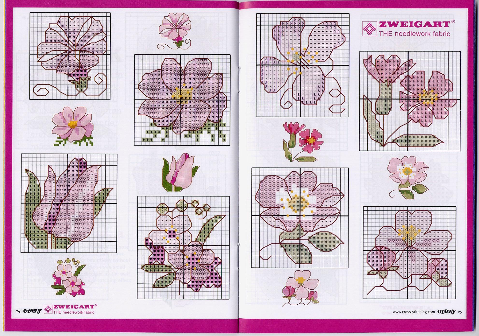 Вышивка маленькие цветы схема