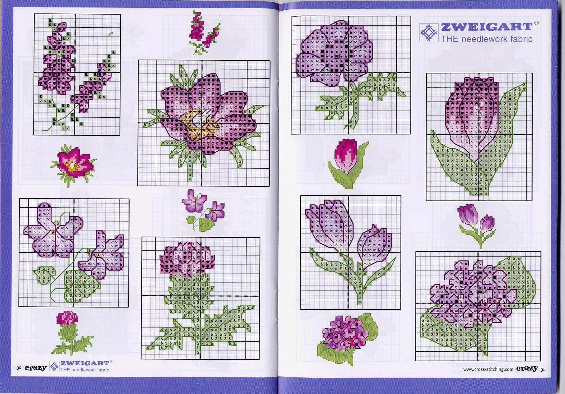 Мелкие цветы схемы для вышивки