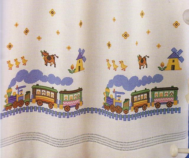 Схема вышивания крестом - Полотенце с паровозиками