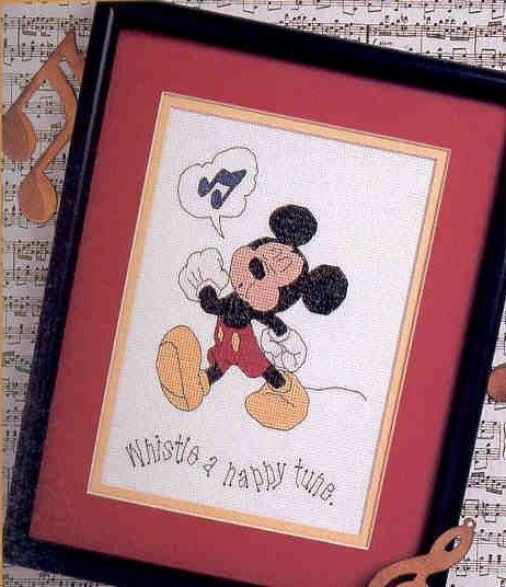 Схема вышивания крестом - Микки Маус поёт