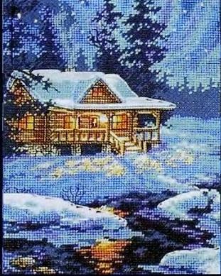 Схема вышивания бисером - Рождественская ночь