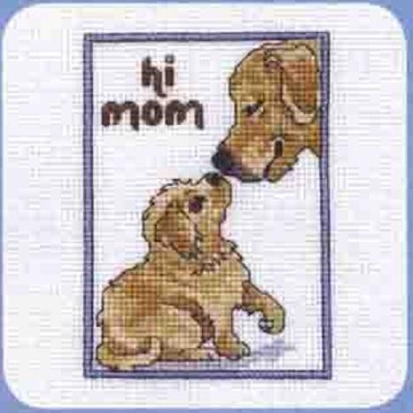 Схема вышивания крестом - Щенок и мама