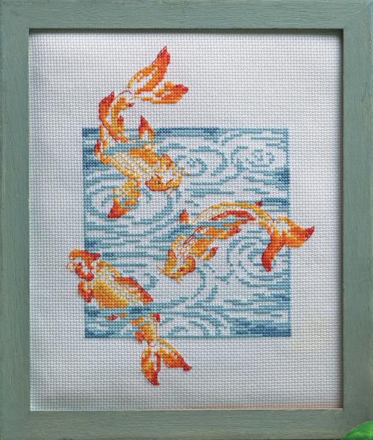 """Схема вышивания крестом - """"Золотые рыбки"""""""