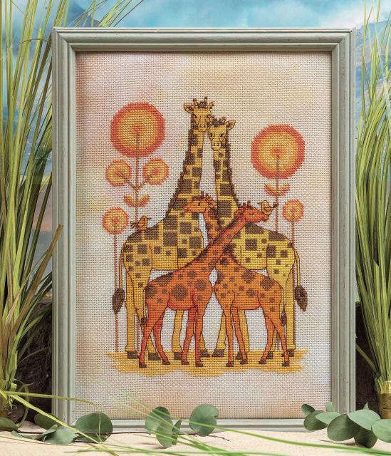 """Схема вышивания крестом - """"Семья жирафов"""""""
