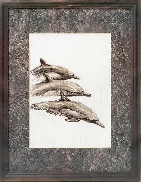 Схема вышивания крестом - Дельфины