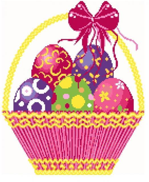 Схема вышивания крестом - Корзина с пасхальными яйцами