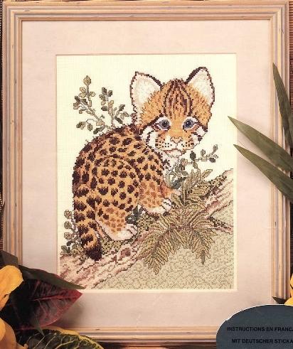 Схема вышивания крестом - Малыш ягуара